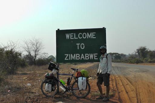 Hap crossing the border on his bike into Zimbabwe