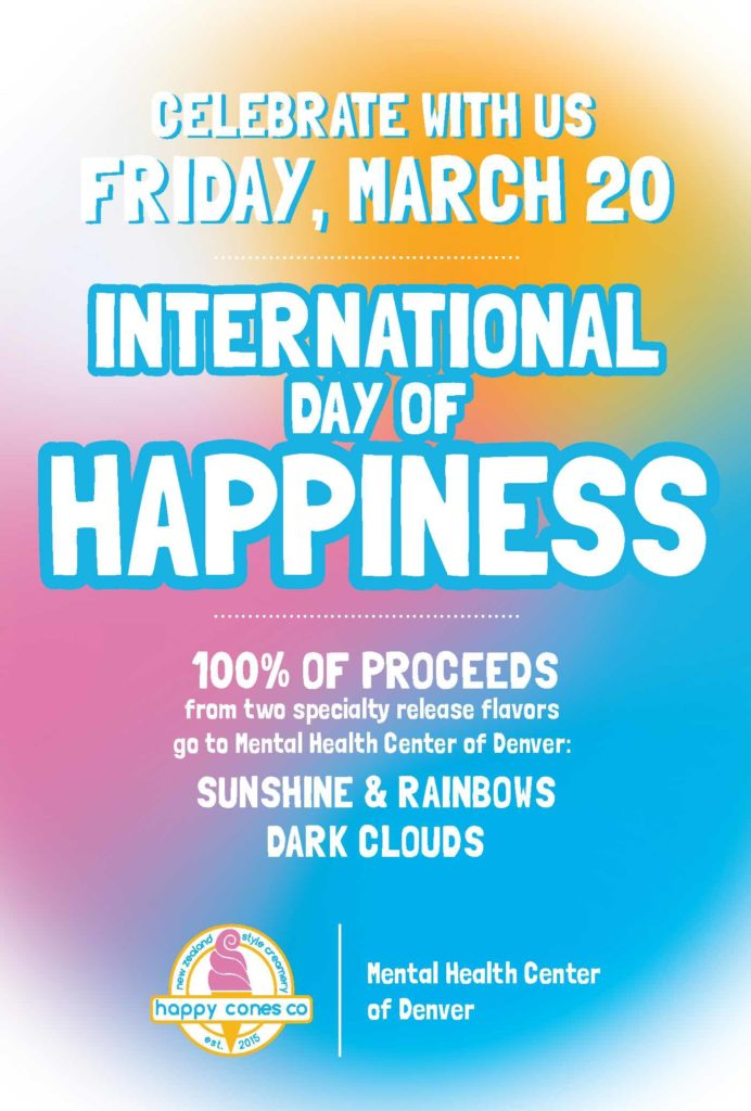 Happy Cones Co International Day of Happiness Denver 2020 poster